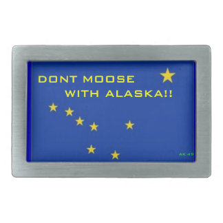DONT MOOSE WITH ALASKA RECTANGULAR BELT BUCKLE
