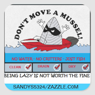DON'T MOVE A MUSSEL SQUARE STICKER