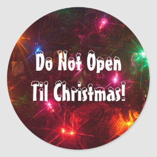 Don't Open Til Christmas Lights Classic Round Sticker