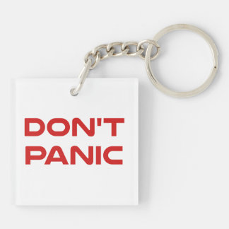 Don't Panic Double-Sided Square Acrylic Keychain