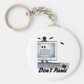 dont panic basic round button keychain