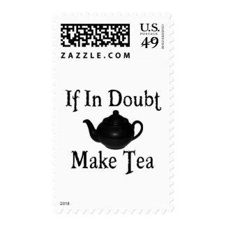 Don't panic - make tea! stamp