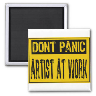 Don't Panic Sign- Artist At Work - Yellow/Black Refrigerator Magnets