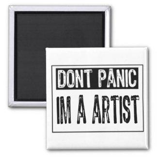 Don't Panic Sign- I'm A Artist - White/Black Refrigerator Magnets