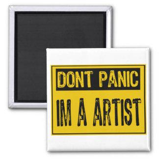 Don't Panic Sign- I'm A Artist - Yellow/Black Fridge Magnet