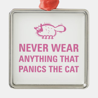 Don't panic the cat metal ornament