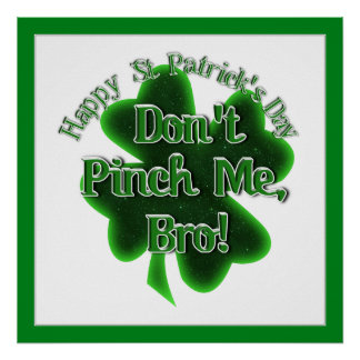 Don't Pinch Me, Bro, It's St Patrick's Day! Print