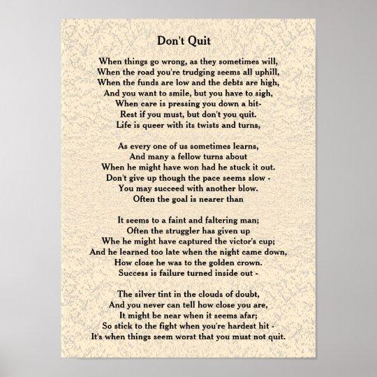 Dont Quit Poem Poster Zazzlecom