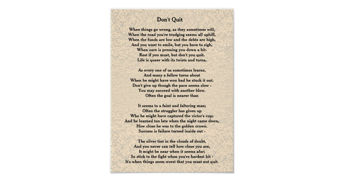 Don T Quit Poem Poster Zazzle Com