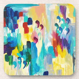 DONT QUOTE ME Whimsical Rainbow Ikat Chevron Abstr Coaster