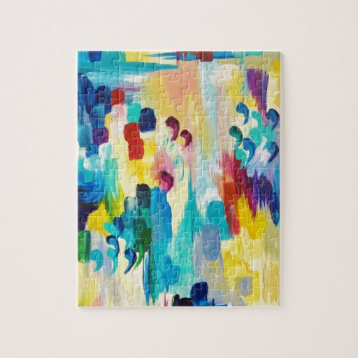 DONT QUOTE ME Whimsical Rainbow Ikat Chevron Abstr Puzzle