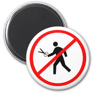 Don't run with scissors! 2 inch round magnet