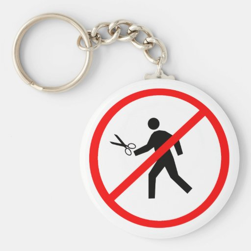 Don't run with scissors! keychain