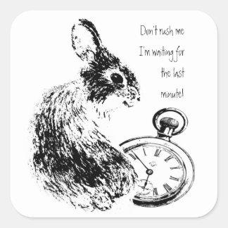 Don't Rush Me, Last Minute, Late Fun  Rabbit Square Stickers