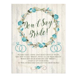 Don't Say Bride! Bridal Shower Game Flyer