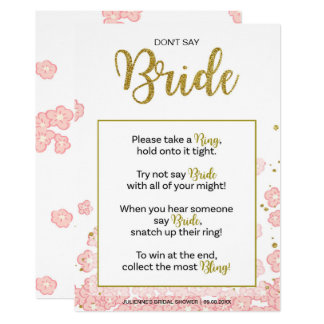 Don't Say Bride Bridal Shower Ring Game | Pink Gol Card
