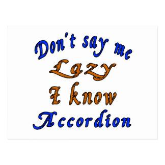 Don't say me Lazy i know Accordion Postcard