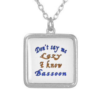 Don't say me Lazy i know Bassoon Square Pendant Necklace