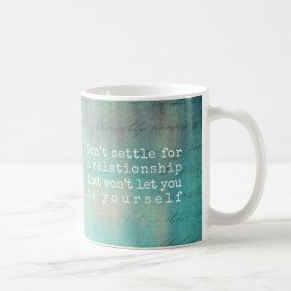 dont settle mug in aqua