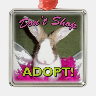 Don't Shop, Adopt! Square Metal Christmas Ornament