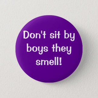 Don't sit by boys they stink! button