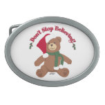 Don't Stop Believing! Christmas Bear Oval Belt Buckles