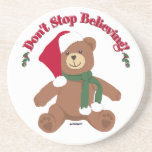Don't Stop Believing! Christmas Bear Drink Coaster