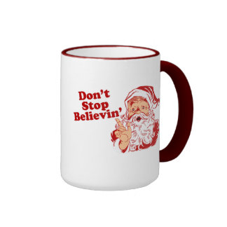 Dont Stop Believing Christmas Ringer Coffee Mug