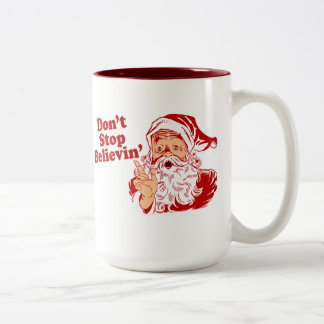 Dont Stop Believing Christmas Two-Tone Coffee Mug
