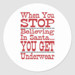 Don't Stop Believing in Santa Classic Round Sticker