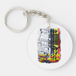 dont stop music affected Double-Sided round acrylic keychain