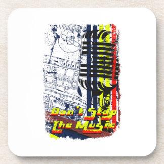dont stop music affected grunge image beverage coaster