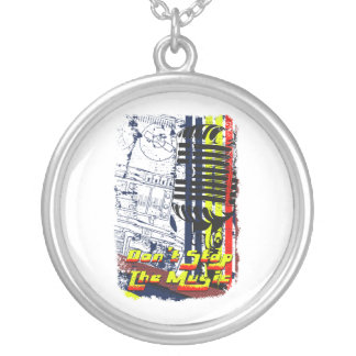 dont stop music affected grunge image round pendant necklace