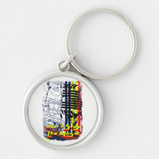 dont stop music affected grunge image Silver-Colored round keychain