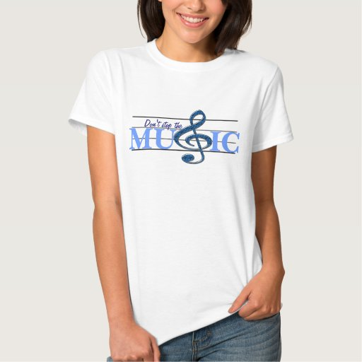 Don't Stop The Music Blue Accent Ladies T-shirt