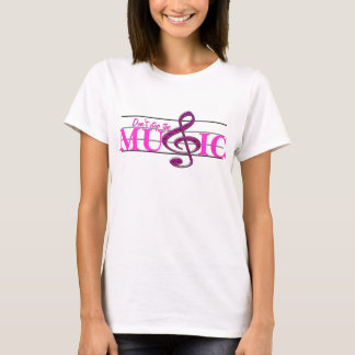 Don't Stop The Music Pink Accent Ladies T-shirt