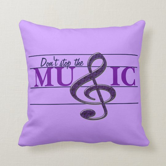 Don't Stop The Music Purple Decorative Pillow