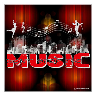 Don't Stop The Music (Red Fractal Background) Poster