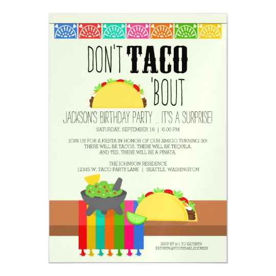 Dont Taco Bout Surprise Birthday Party Magnetic Card Zazzlecom