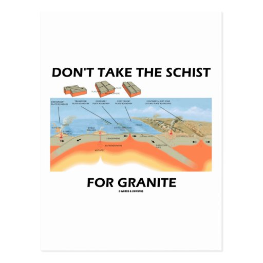 Don't Take The Schist For Granite (Geology Humor) Post Card