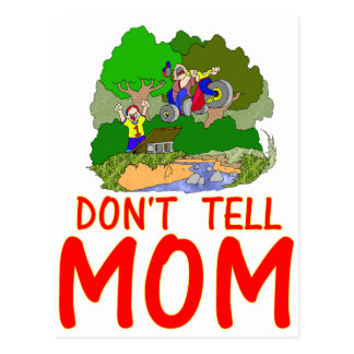 Don't tell MOM bike Postcard
