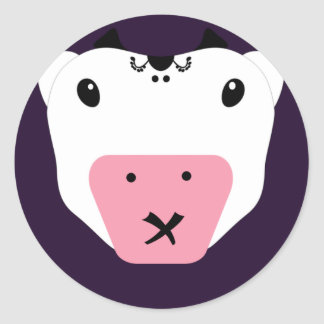 Don't Tell Secret Cute Kawaii Cow Classic Round Sticker