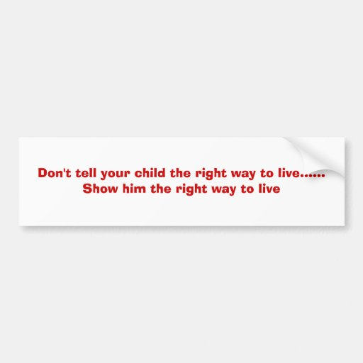 Don't tell your child the right way to live....... car bumper sticker