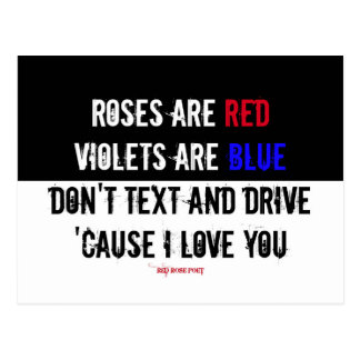 Don't Text and Drive: I Love You Poem: Postcard