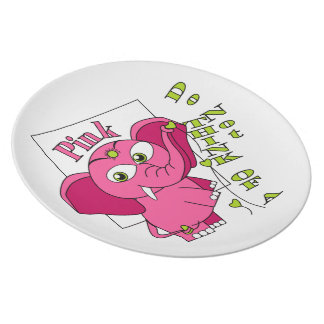 Don't think of a pink elephant. plate