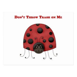 Don't Throw Trash on Me ladybug Post Cards