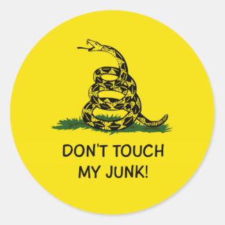 DON'T TOUCH MY JUNK GADSDEN FLAG ROUND STICKER