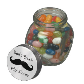 Don't Touch My Stache Jelly Belly Candy Jar