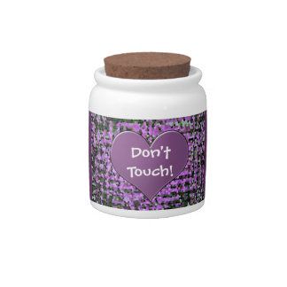 Don't Touch! purple heart stained glass candy jar