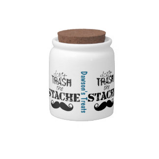 Don't Trash the Stache Mustache Retro Hipster Candy Jar